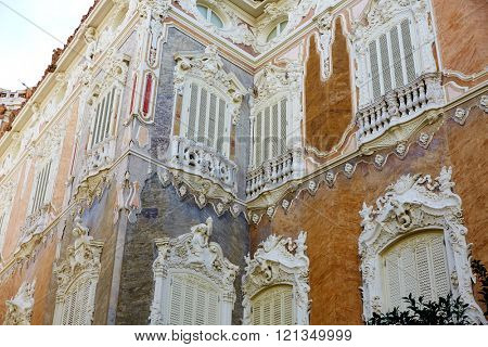 Valencia city Marques de Dos aguas building alabaster facade at Spain