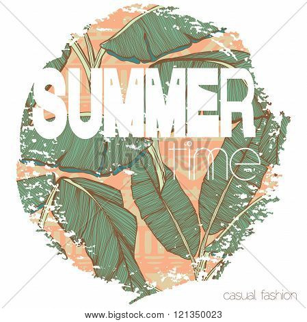 Vintage tropical exotic summer print for t-shirt with slogan
