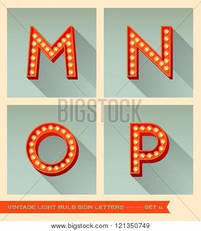 Vintage light bulb sign letters m, n, o, p.