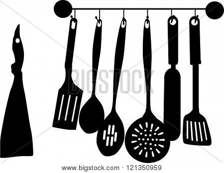 illustration with kitchen utensil on white background