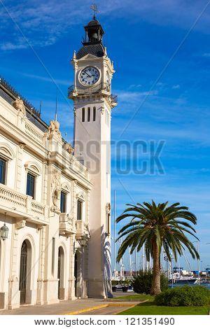 Puereto de Valencia port with clock tower building in Spain
