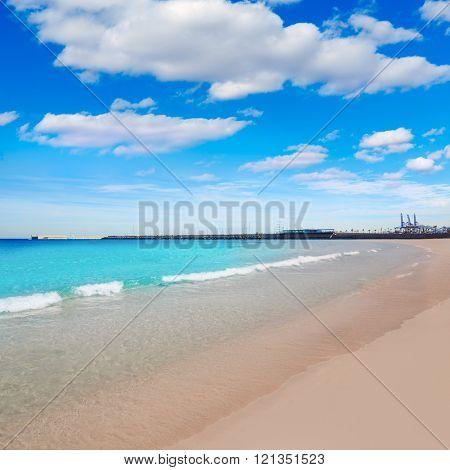 Valencia Malvarrosa beach Las Arenas in Mediterranean sea of Spain