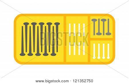 Bolts box vector illustration.