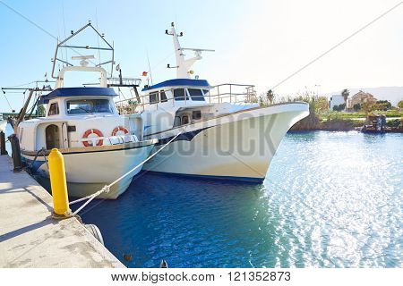 Cullera fisherboats port in Xuquer Jucar river of Valencia Spain