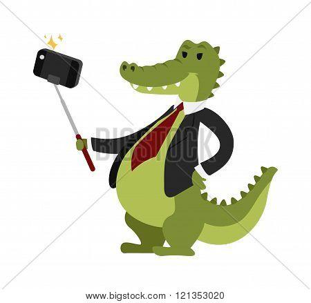 Selfie crocodile vector illustration.