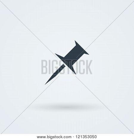 Vector push pin icon.