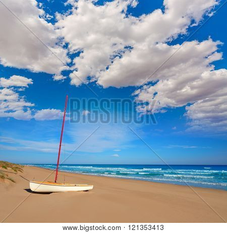 Cullera Dosel beach Mediterranean sea in Valencia of Spain