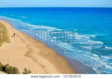 Cullera Dosel beach aerial Mediterranean sea in Valencia of Spain