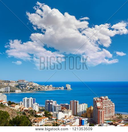 Cullera beach aerial with skyline of village in Mediterranean Valencia of Spain