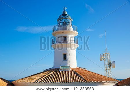 Cullera Lighthouse in Valencia at Mediterranean sea of Spain