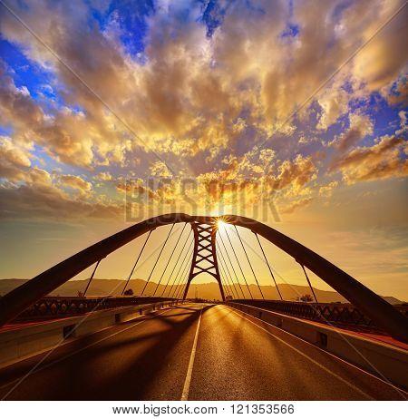 Cullera bridge over Xuquer Jucar river of Valencia at Spain