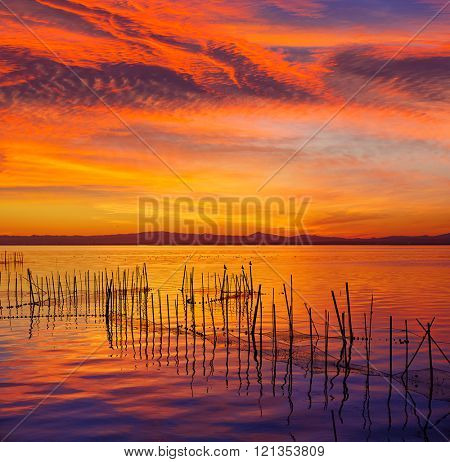 La Albufera lake sunset in El Saler of Valencia at Spain