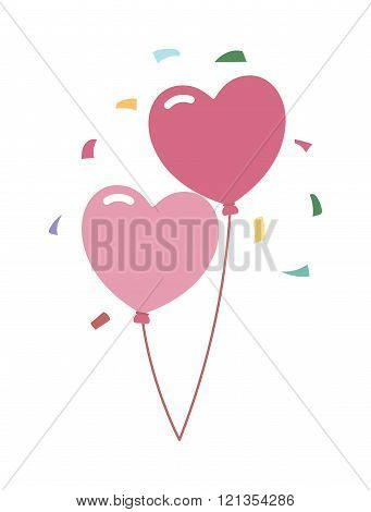 Wedding balloons romantic party decoration vector illustration.