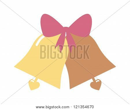 Vector illustration of a elegant gold color wedding bells with hearts isolated on white background.