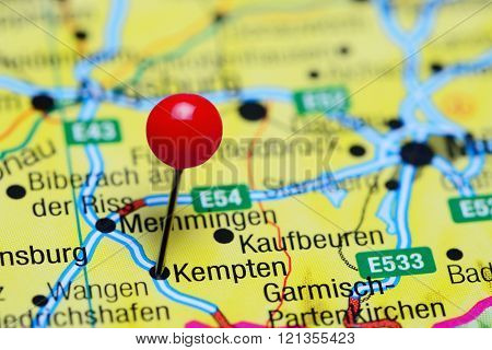 Kempten pinned on a map of Germany