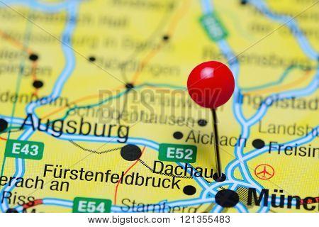 Dachau pinned on a map of Germany