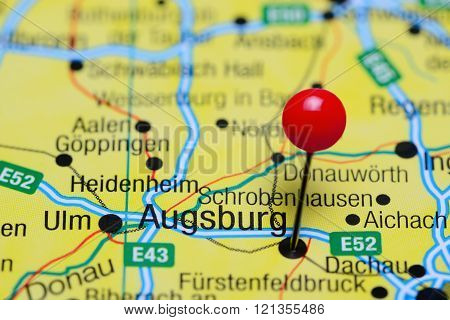 Augsburg pinned on a map of Germany