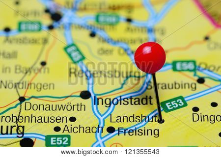 Landshut pinned on a map of Germany