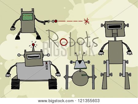 Child's drawings of robots (raster version)