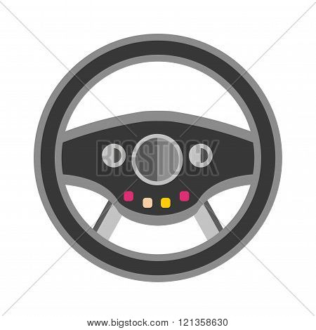 Sport car rudder wheel vector