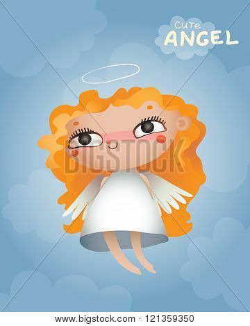 Cute-angel-a-little-girl-flying-in-the-clouds