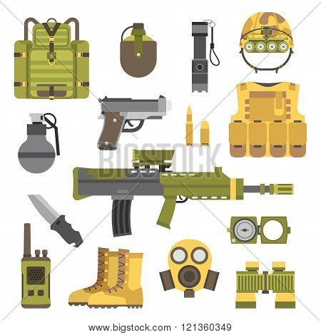 Military weapon guns symbols vector illustration