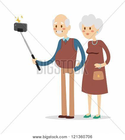 Selfie photo shot grandpa and grandma vector portrait illustration