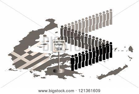 Sepia Greece Migration