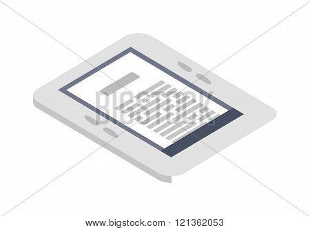 Isometric e-book icon vector illustration flat design.