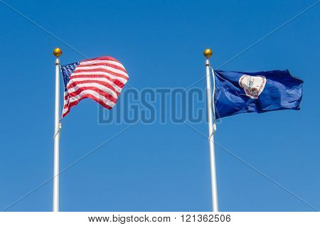 United States and Virginia Flags on Poles