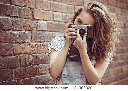 Beautiful Girl Photographer With Camera