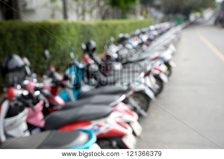 blur motor cycle parking on street