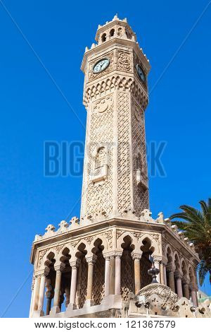 Old clock tower under blue sky, Izmir, Turkey