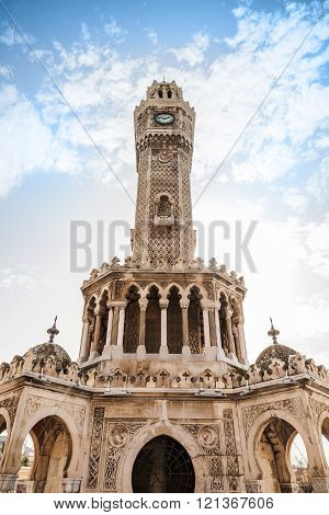Historical Clock Tower Under Cloudy Sky, Izmir
