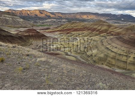 Colorful clay patterns in the Painted Hills, Oregon