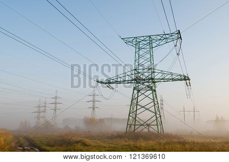High-voltage Power Line Against Landscape