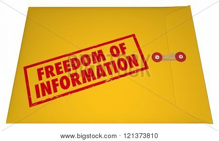 Freedom of Information Act Government Documents Unsealed Envelope 3D