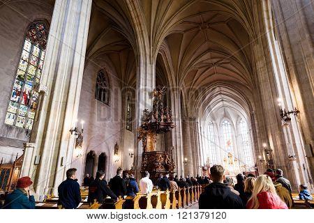 CLUJ NAPOCA, ROMANIA - MARCH 2016: The church of Saint Michael interior, a gothic style roman cathol