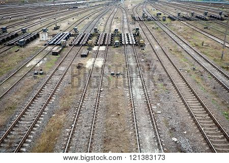 railway tracks and rails of big marshalling yard top perspective view