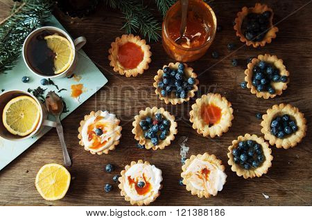 Tart With Lemon Curd And Fresh Blueberry, Top View. Dessert Tart