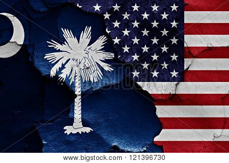 Flags Of South Carolina And Usa Painted On Cracked Wall