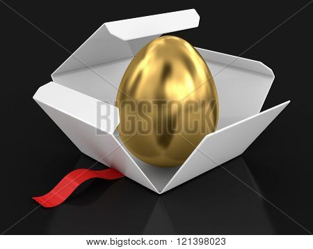 Open package with golden egg. Image with clipping path