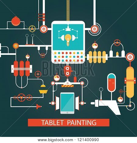 Vector Of Tablet Painting Technology, Development Process For Smart Phone