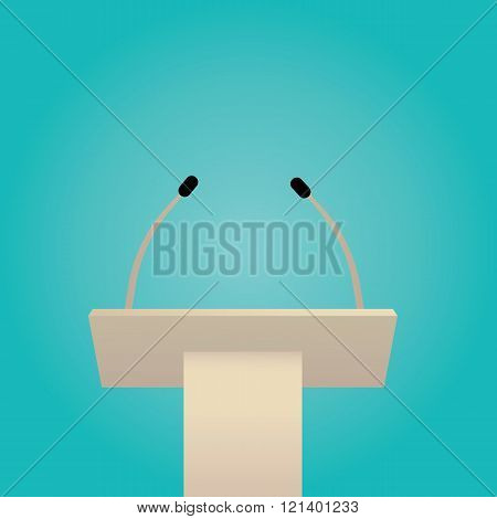 Vector Illustration Of Tribune, White Podium