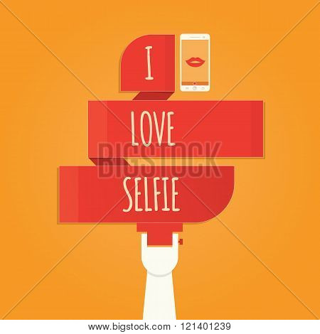 Vector Illustration Of Selfie, Taking Selfie Photo On Smart Phone