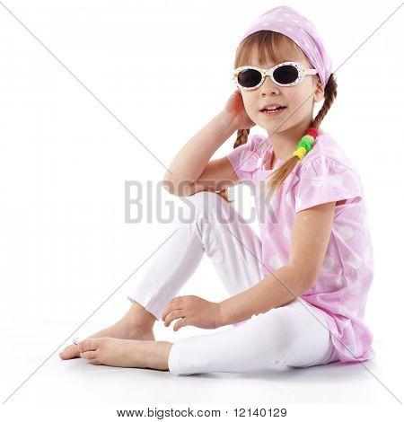 Kleine meisje studio serie over white mode