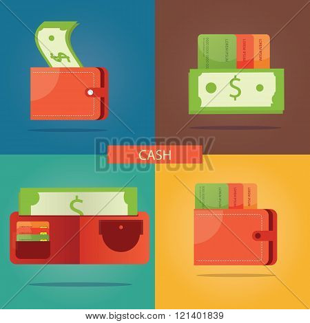 Vector Set Of Cash Money, Finance Icons, Money Icons