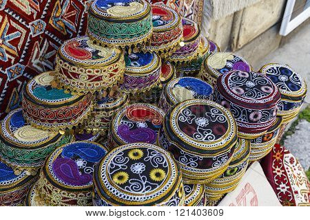 Traditional Hats With Hand-embroidered Azerbaijan