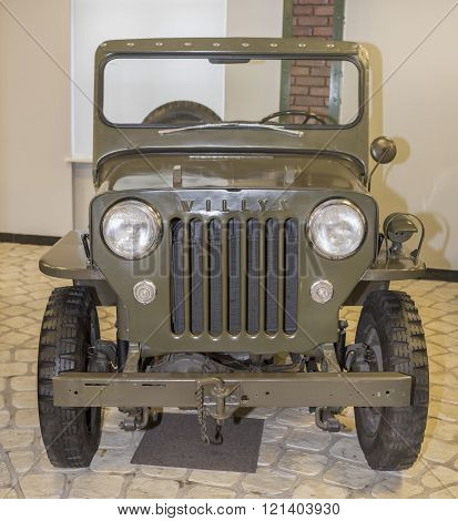 MOSCOW RUSSIA- DECEMBER 15- M-72 - Willys CJ3B- Civic modification army