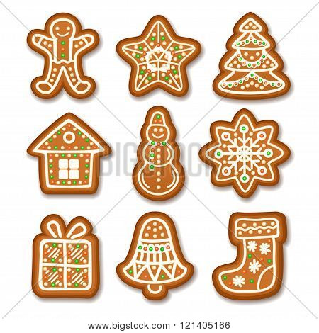 Set Of Gingerbread Christmas Cookies Decorated Icing. Holiday Cookie